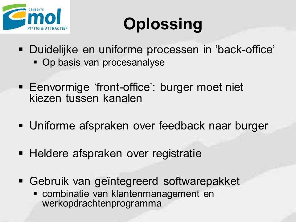 Oplossing Duidelijke en uniforme processen in 'back-office'