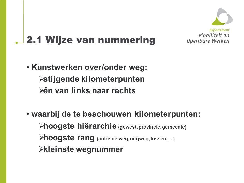 2.1 Wijze van nummering Kunstwerken over/onder weg: