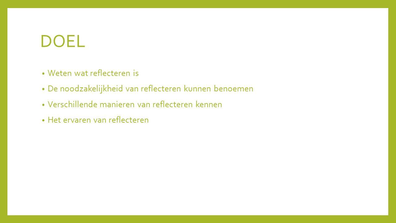 DOEL Weten wat reflecteren is