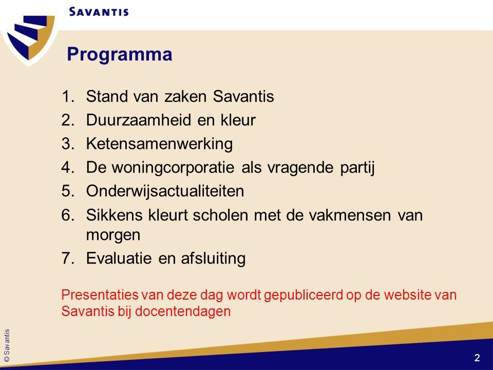 Programma Stand van zaken Savantis Duurzaamheid en kleur