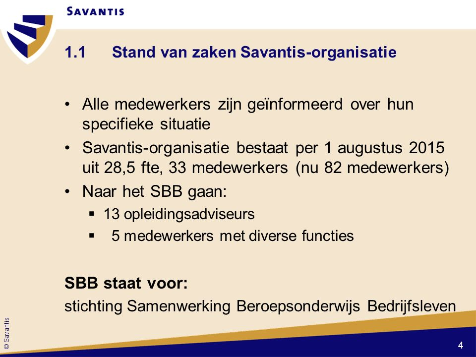 1.1 Stand van zaken Savantis-organisatie