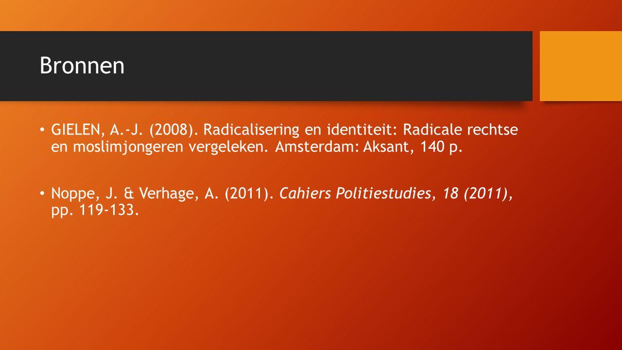 Bronnen GIELEN, A.-J. (2008). Radicalisering en identiteit: Radicale rechtse en moslimjongeren vergeleken. Amsterdam: Aksant, 140 p.