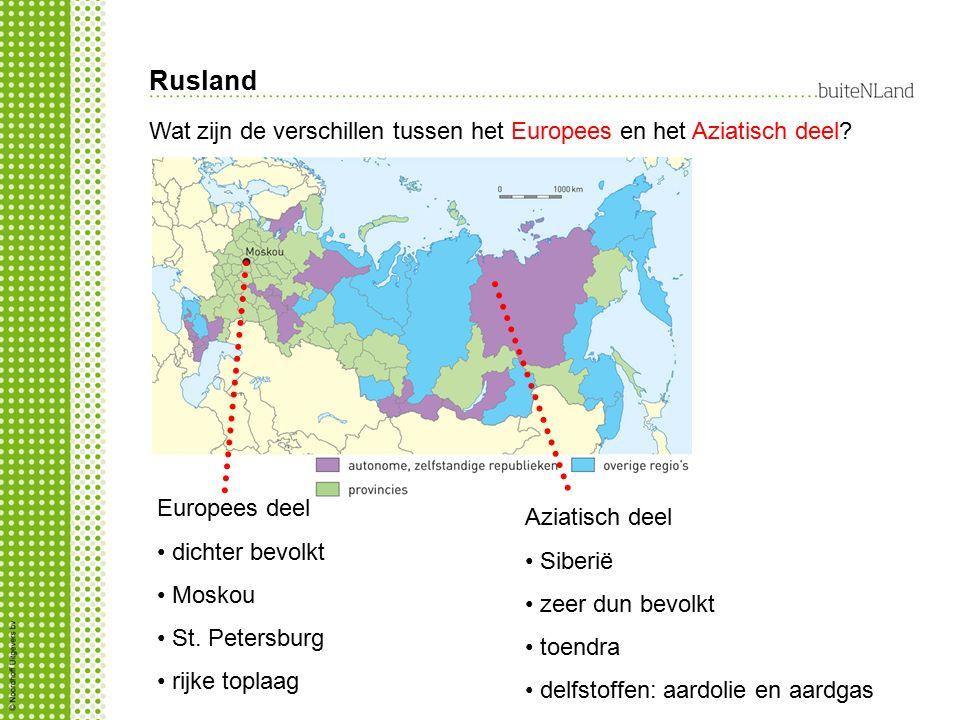 Rusland Wat zijn de verschillen tussen het Europees en het Aziatisch deel Europees deel. dichter bevolkt.