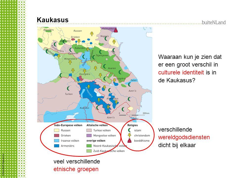 Kaukasus Waaraan kun je zien dat er een groot verschil in culturele identiteit is in de Kaukasus verschillende wereldgodsdiensten dicht bij elkaar.