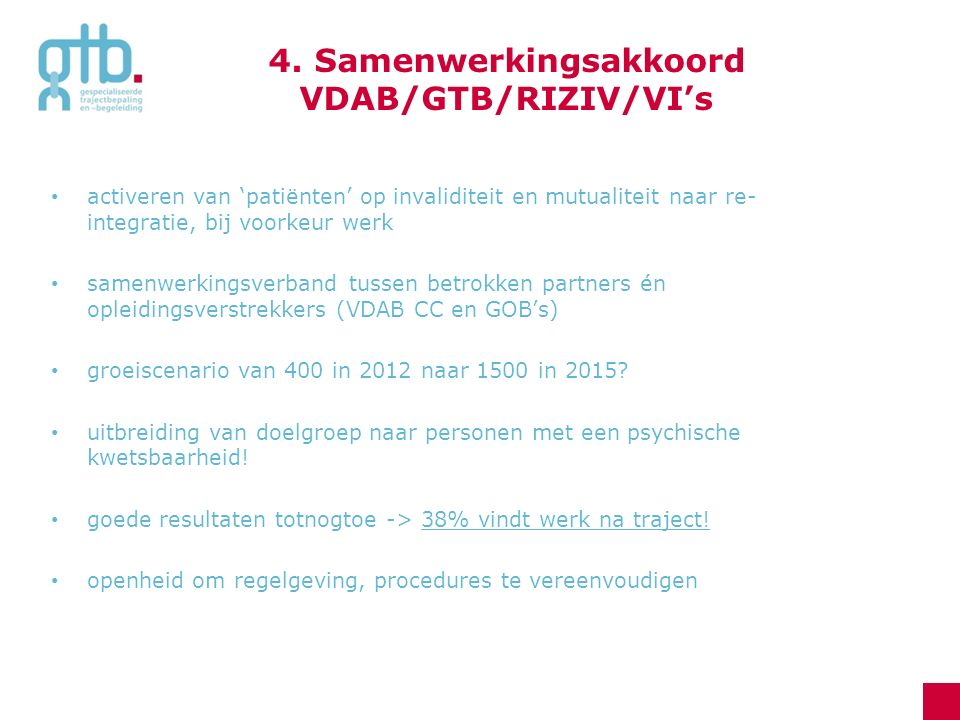 4. Samenwerkingsakkoord VDAB/GTB/RIZIV/VI's