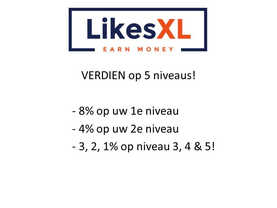 VERDIEN op 5 niveaus! - 8% op uw 1e niveau - 4% op uw 2e niveau - 3, 2, 1% op niveau 3, 4 & 5!