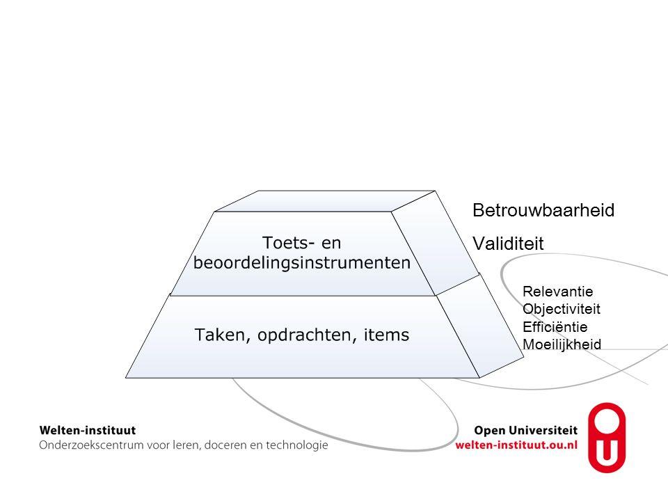 Betrouwbaarheid Validiteit Relevantie Objectiviteit Efficiëntie