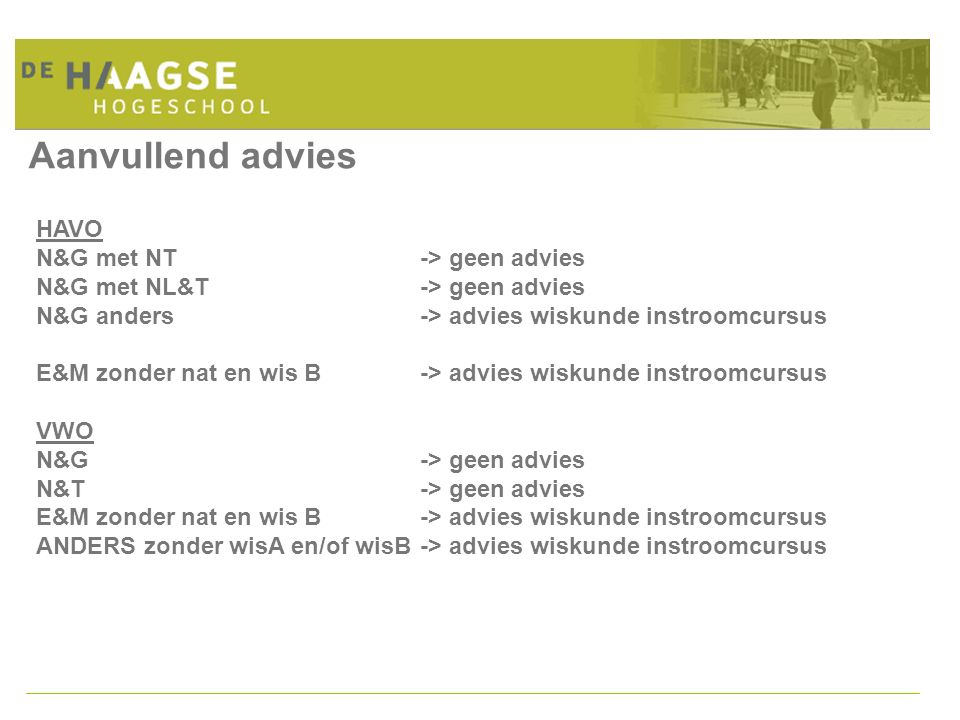 Aanvullend advies HAVO N&G met NT -> geen advies
