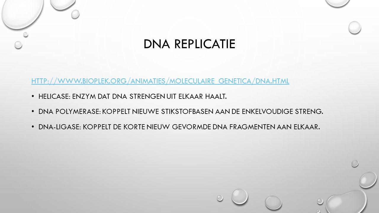 DNA replicatie http://www.bioplek.org/animaties/moleculaire_genetica/dna.html. Helicase: enzym dat DNA strengen uit elkaar haalt.