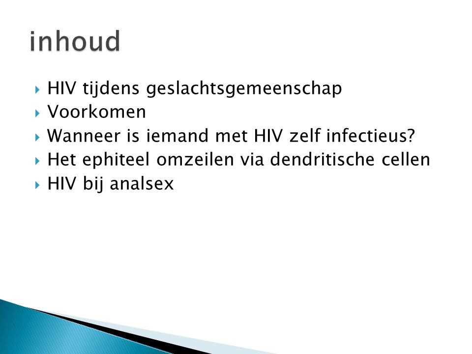 inhoud HIV tijdens geslachtsgemeenschap Voorkomen