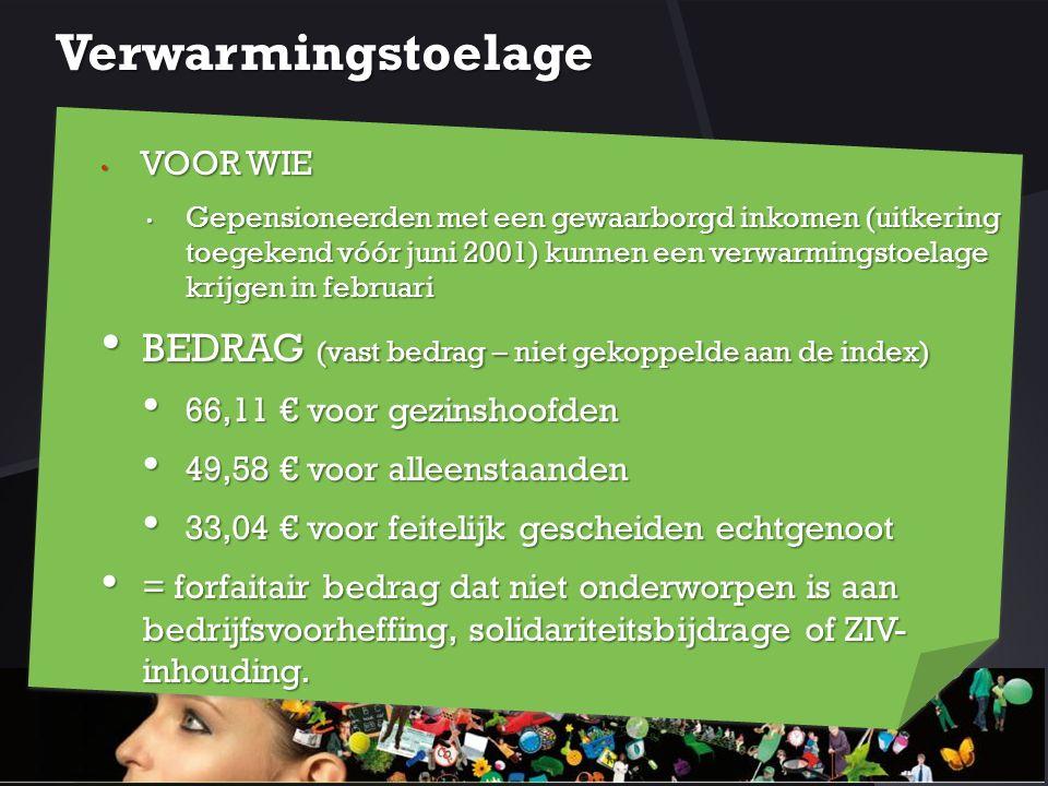 Verwarmingstoelage BEDRAG (vast bedrag – niet gekoppelde aan de index)