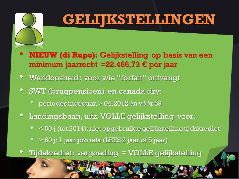 GELIJKSTELLINGEN NIEUW (di Rupo): Gelijkstelling op basis van een minimum jaarrecht =22.466,73 € per jaar.