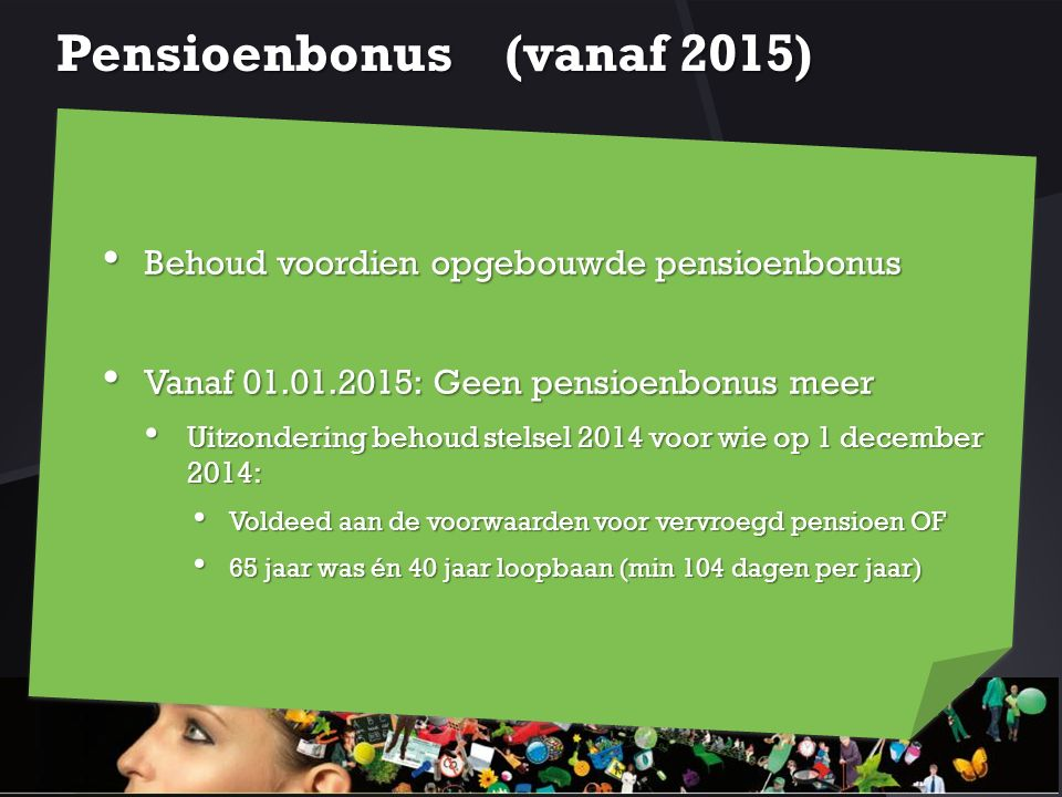 Pensioenbonus (vanaf 2015)