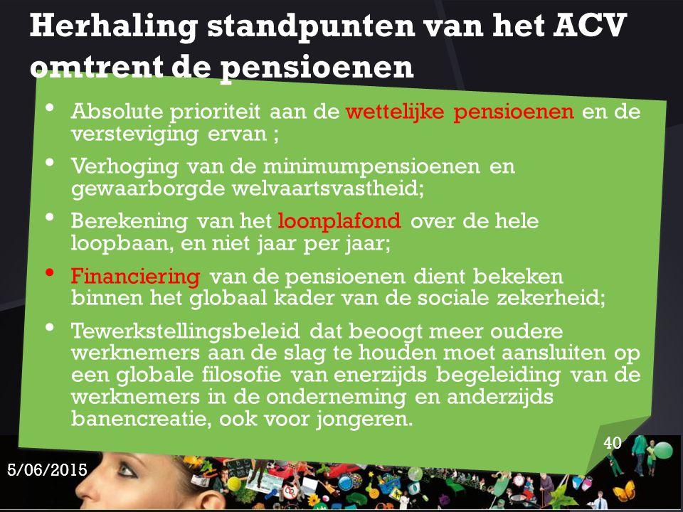 Herhaling standpunten van het ACV omtrent de pensioenen
