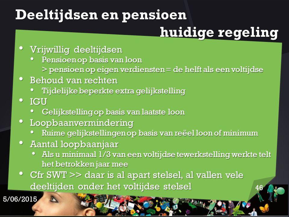 Deeltijdsen en pensioen huidige regeling