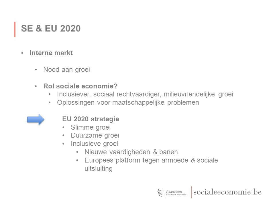 SE & EU 2020 Interne markt Nood aan groei Rol sociale economie