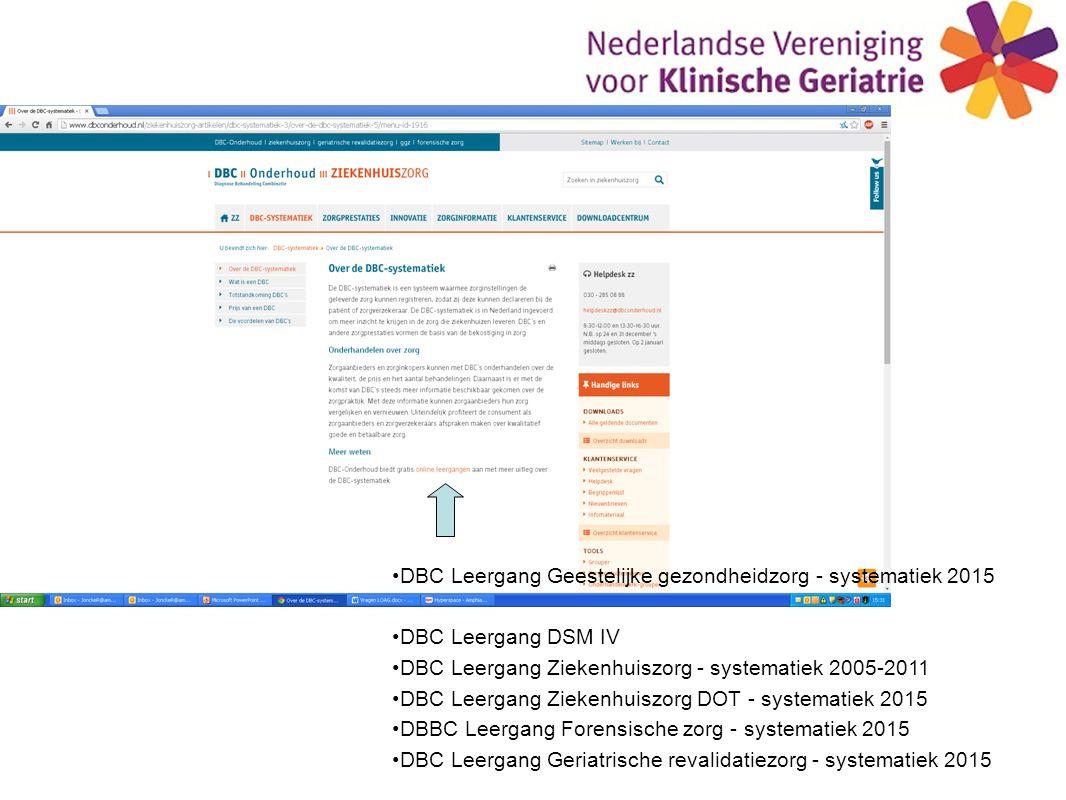 DBC Leergang Geestelijke gezondheidzorg - systematiek 2015