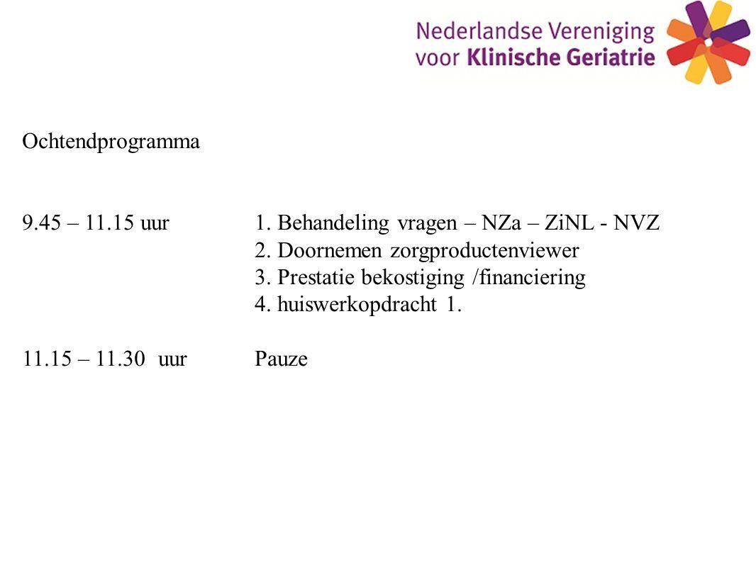Ochtendprogramma 9.45 – 11.15 uur 1. Behandeling vragen – NZa – ZiNL - NVZ. 2. Doornemen zorgproductenviewer.