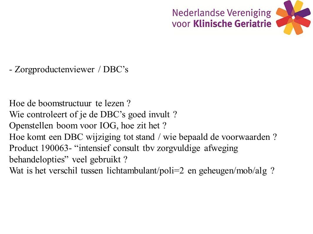 - Zorgproductenviewer / DBC's