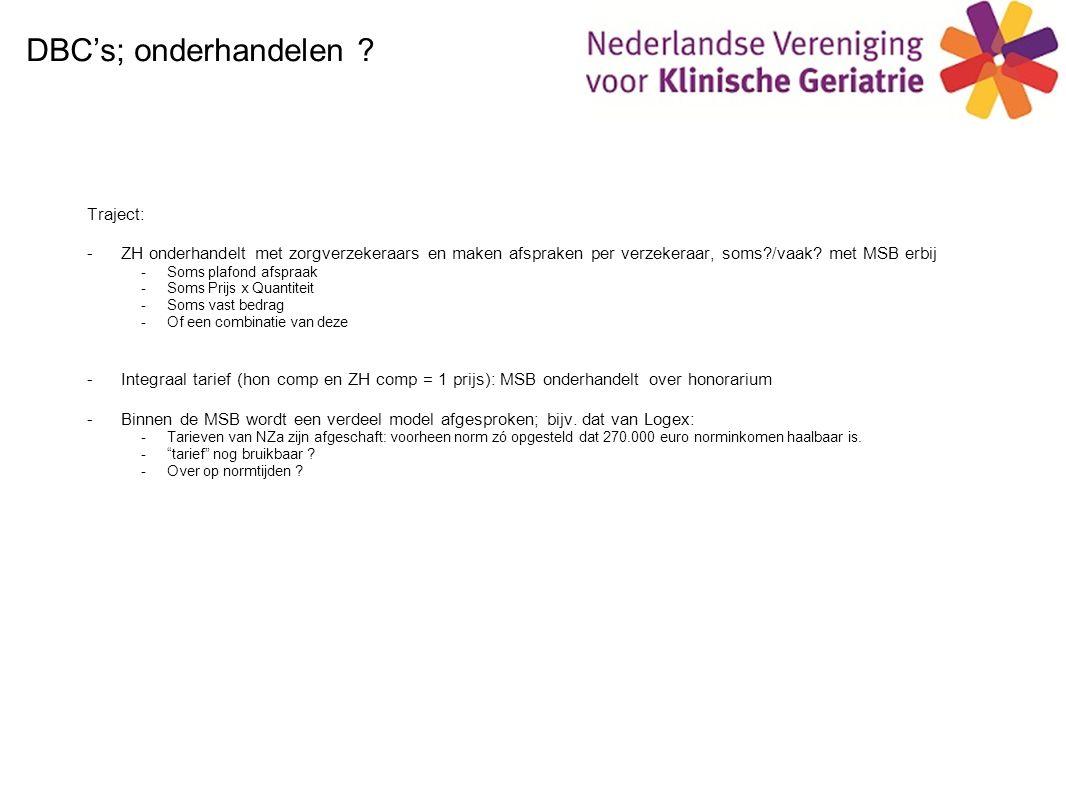 DBC's; onderhandelen Traject:
