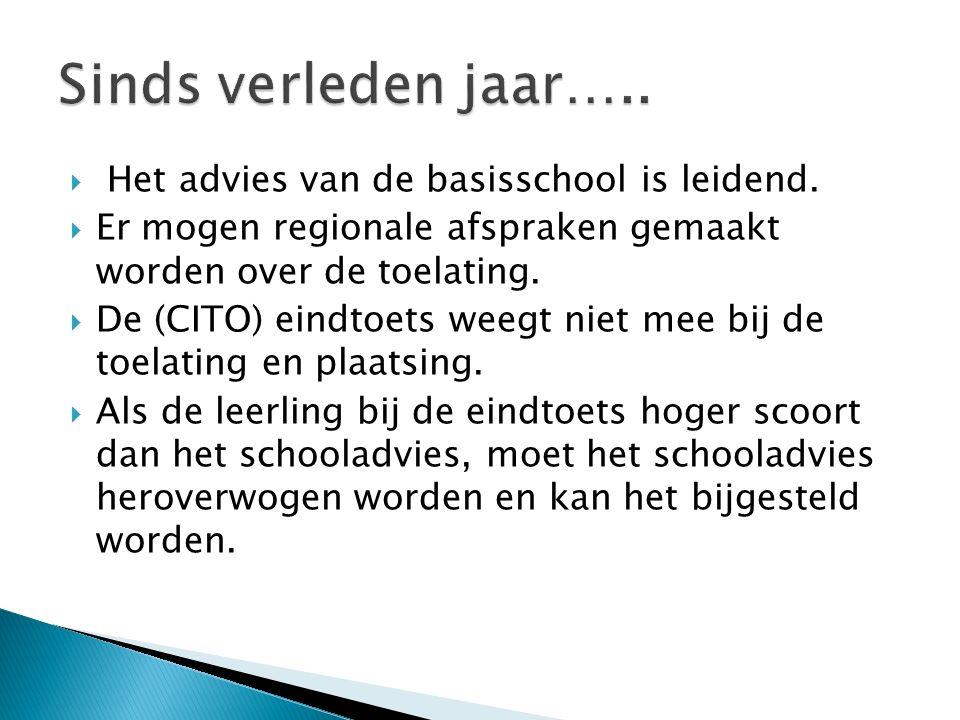 Sinds verleden jaar….. Het advies van de basisschool is leidend.