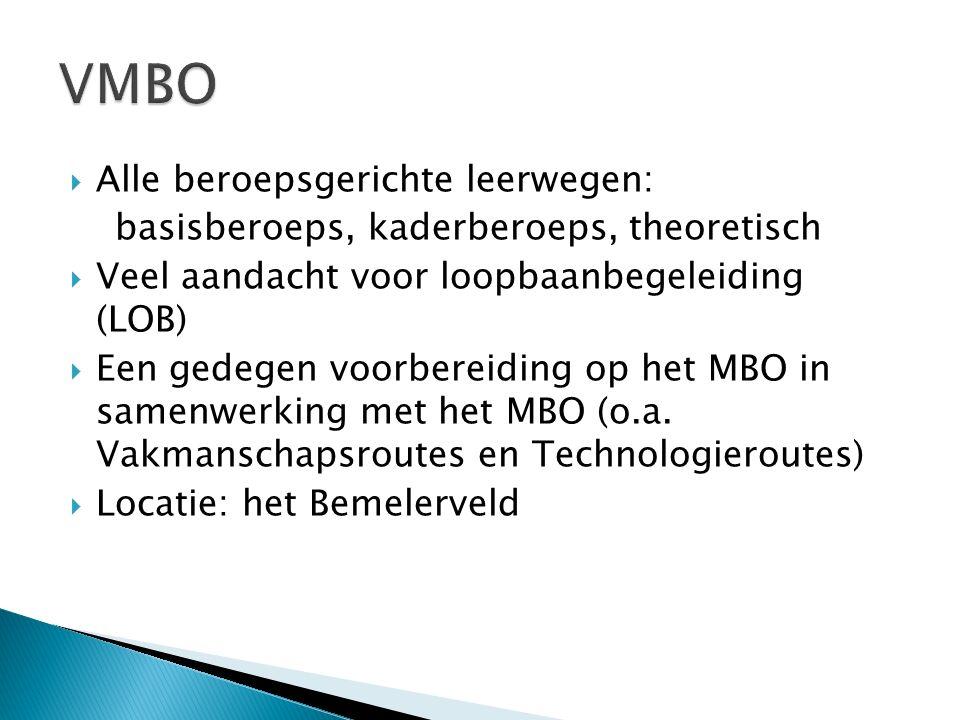 VMBO Alle beroepsgerichte leerwegen: