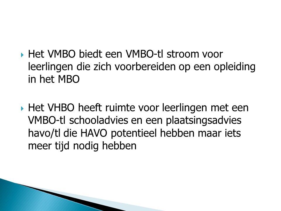 Het VMBO biedt een VMBO-tl stroom voor leerlingen die zich voorbereiden op een opleiding in het MBO
