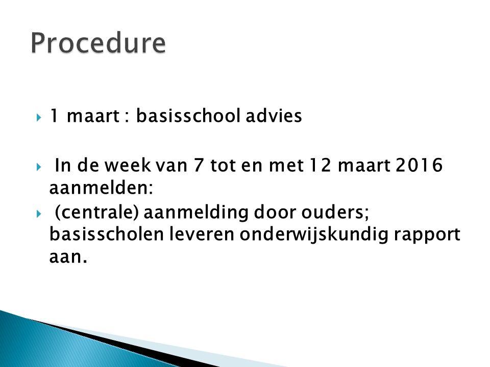 Procedure 1 maart : basisschool advies