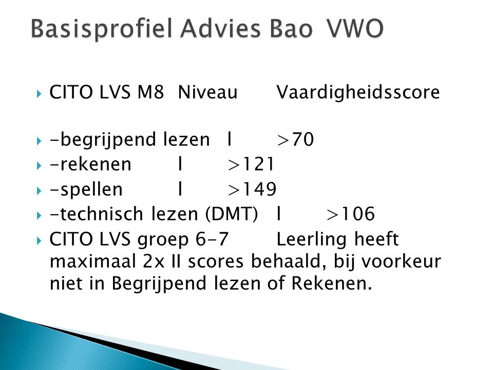 Basisprofiel Advies Bao VWO
