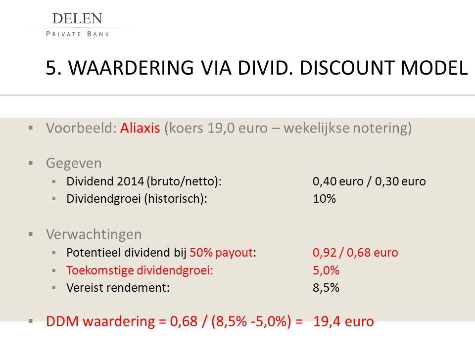 5. Waardering via divid. discount model