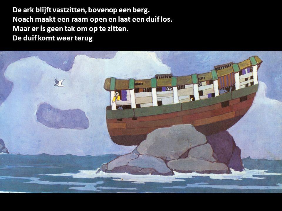 De ark blijft vastzitten, bovenop een berg.
