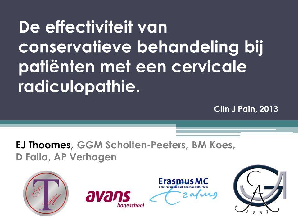 EJ Thoomes, GGM Scholten-Peeters, BM Koes, D Falla, AP Verhagen