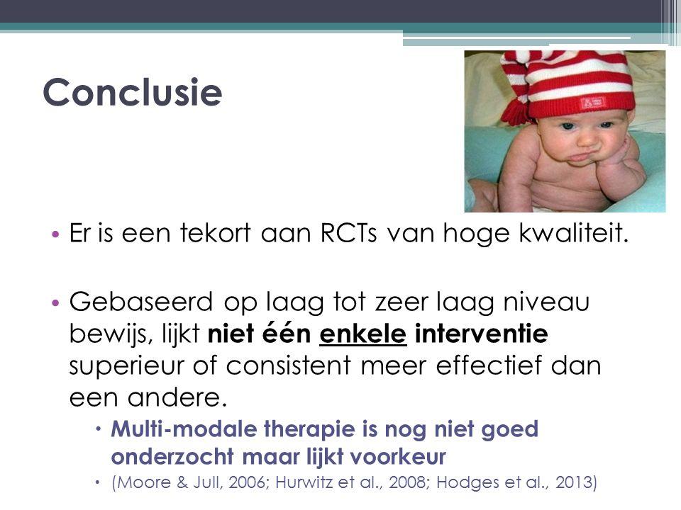 Conclusie Er is een tekort aan RCTs van hoge kwaliteit.