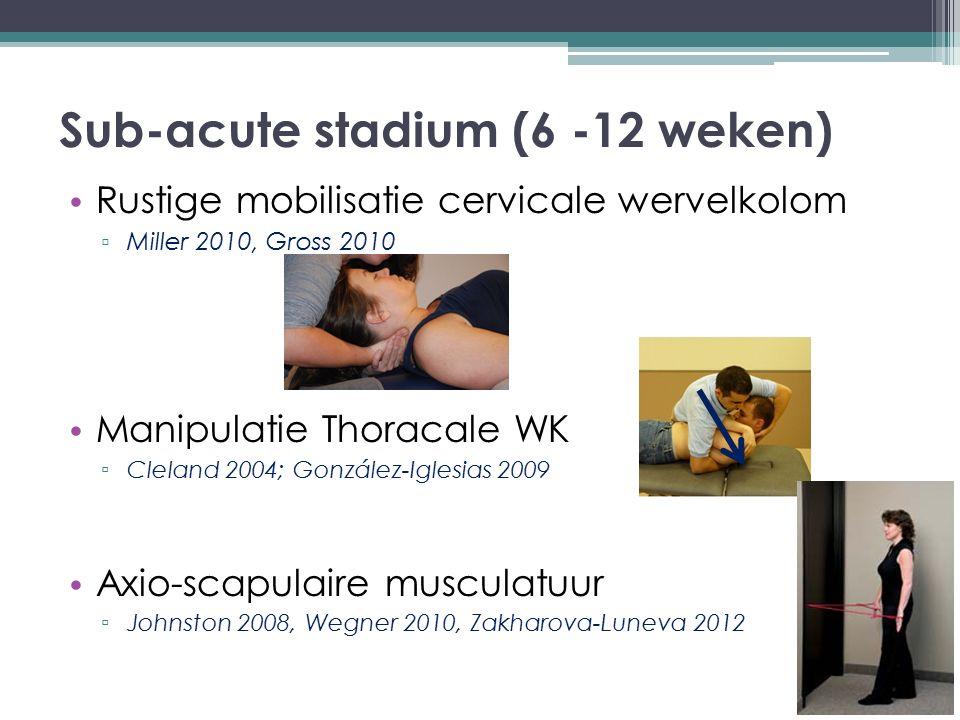 Sub-acute stadium (6 -12 weken)