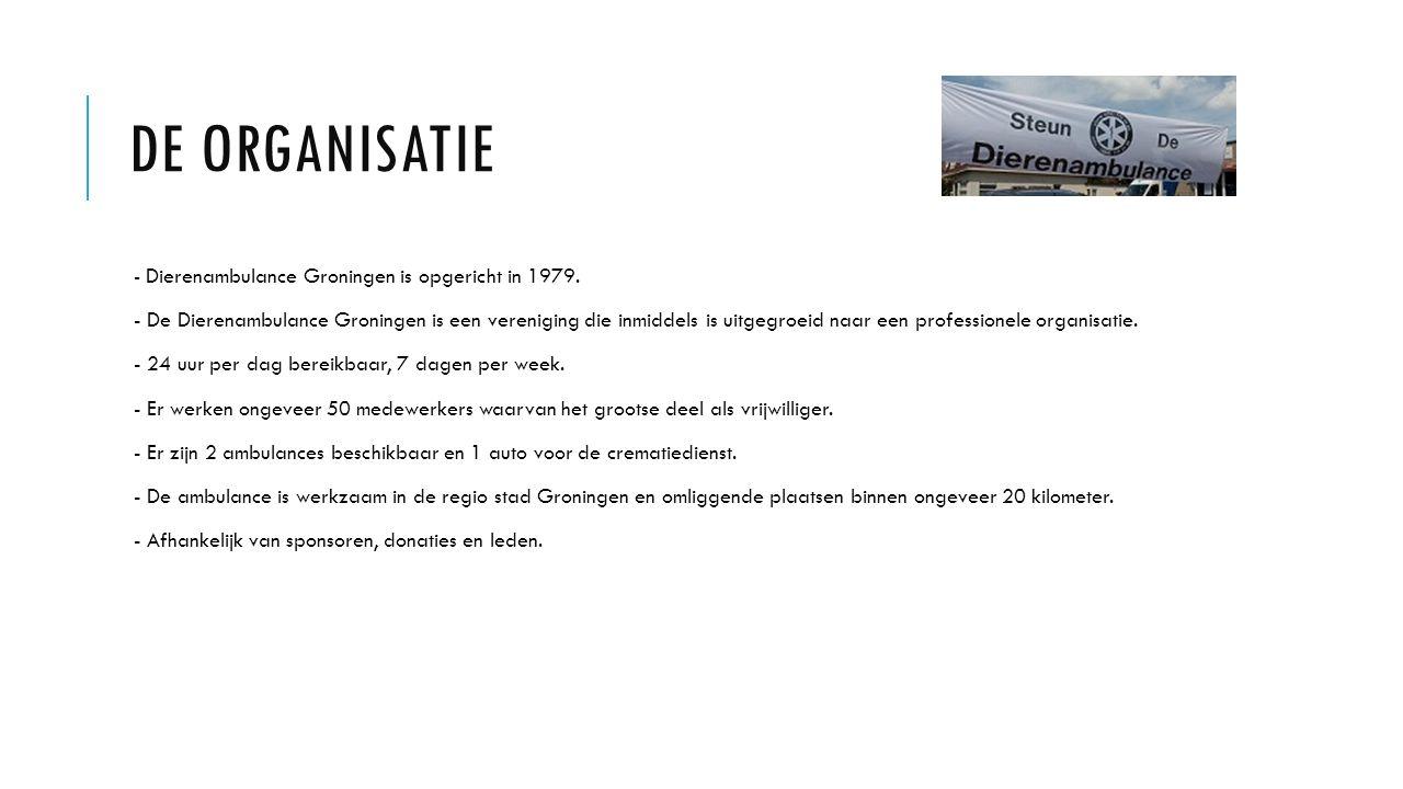 De organisatie - Dierenambulance Groningen is opgericht in 1979.