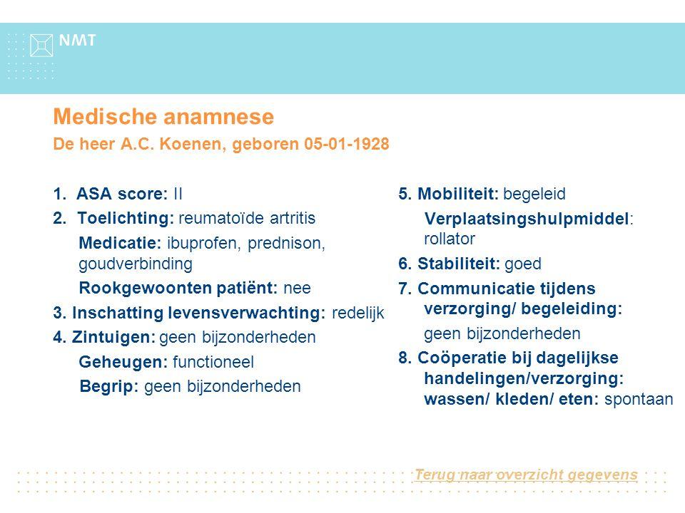 Medische anamnese De heer A.C. Koenen, geboren 05-01-1928
