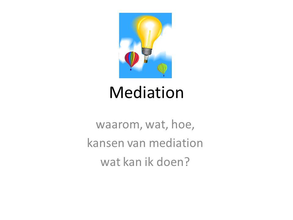 waarom, wat, hoe, kansen van mediation wat kan ik doen