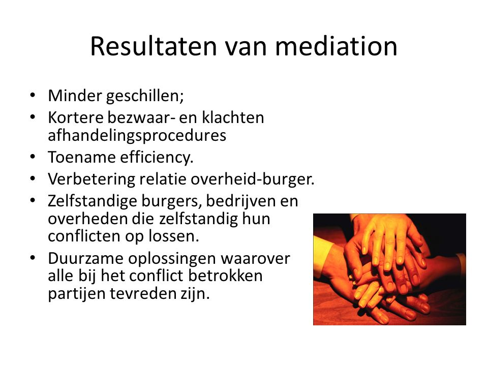 Resultaten van mediation