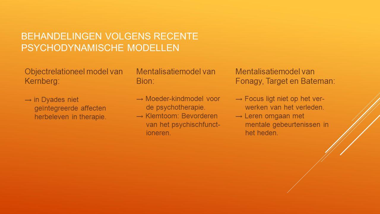 behandelingen volgens recente psychodynamische modellen