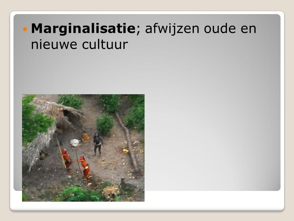 Marginalisatie; afwijzen oude en nieuwe cultuur
