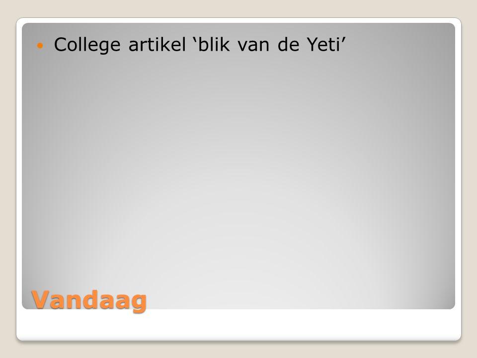 College artikel 'blik van de Yeti'