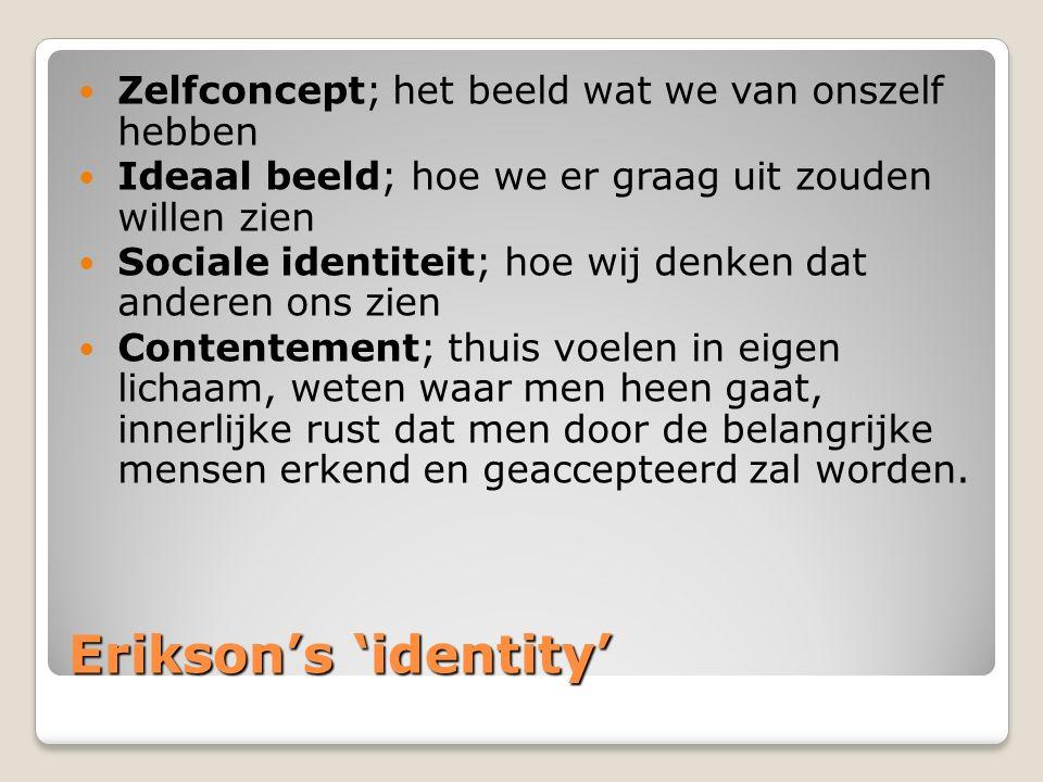 Erikson's 'identity' Zelfconcept; het beeld wat we van onszelf hebben
