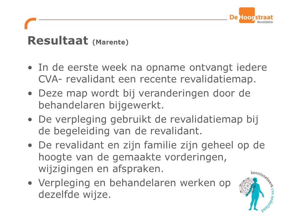 Resultaat (Marente) In de eerste week na opname ontvangt iedere CVA- revalidant een recente revalidatiemap.
