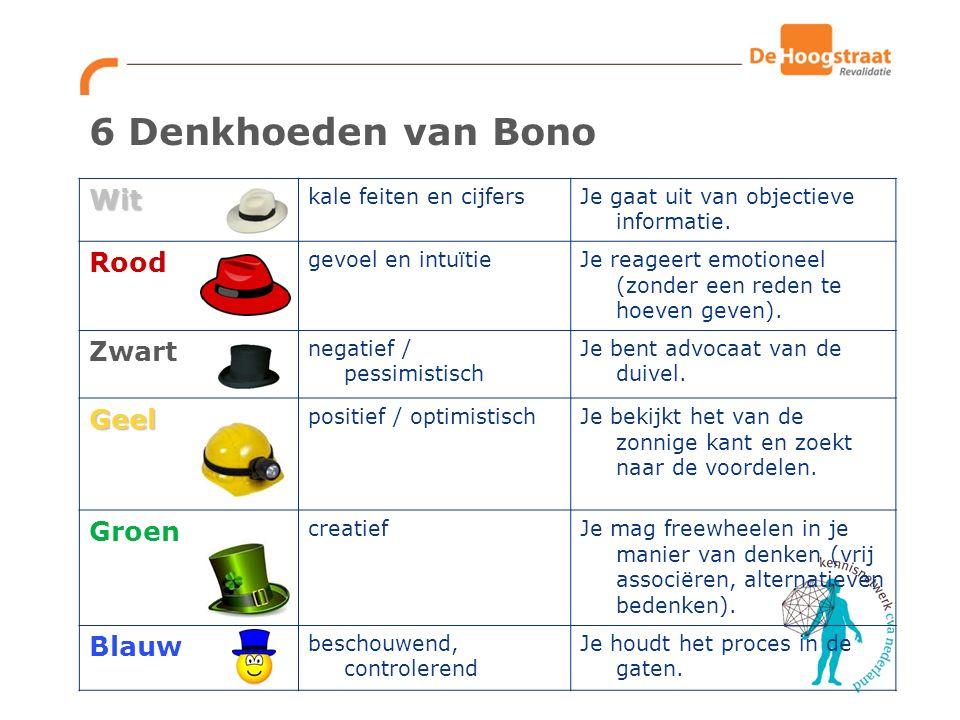 6 Denkhoeden van Bono Wit Rood Zwart Geel Groen Blauw