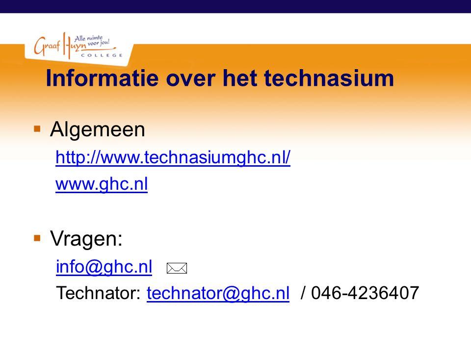 Informatie over het technasium