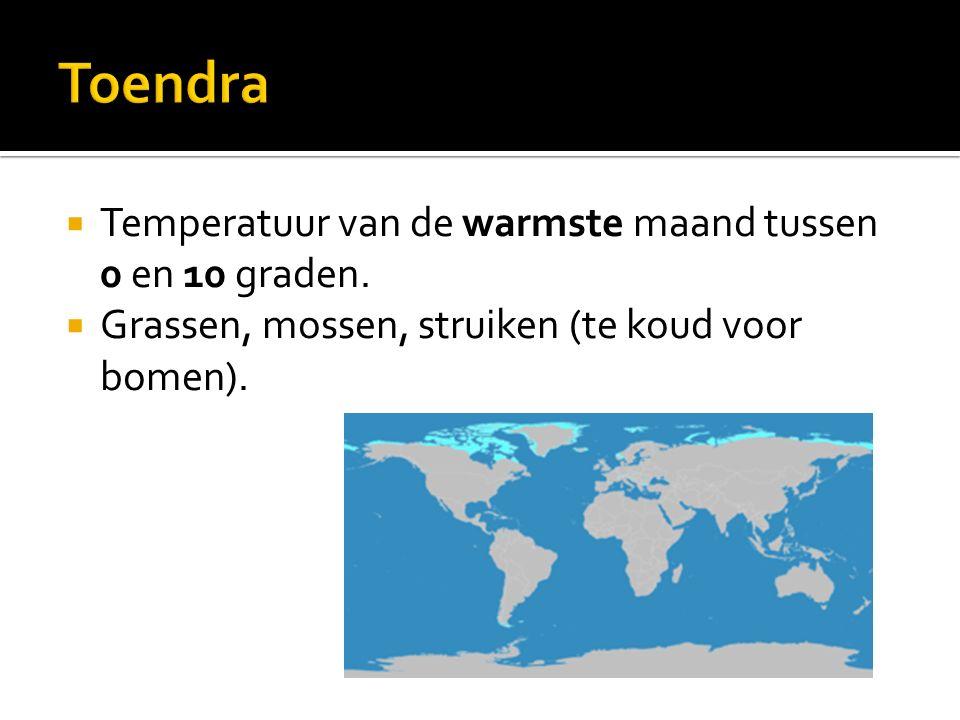 Toendra Temperatuur van de warmste maand tussen 0 en 10 graden.