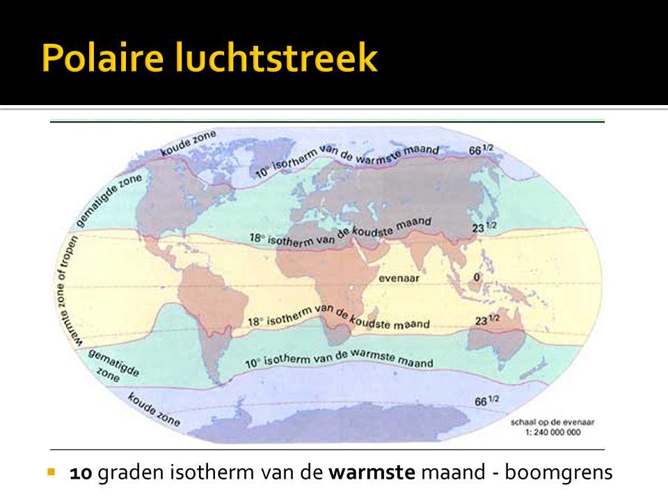 Polaire luchtstreek 10 graden isotherm van de warmste maand - boomgrens