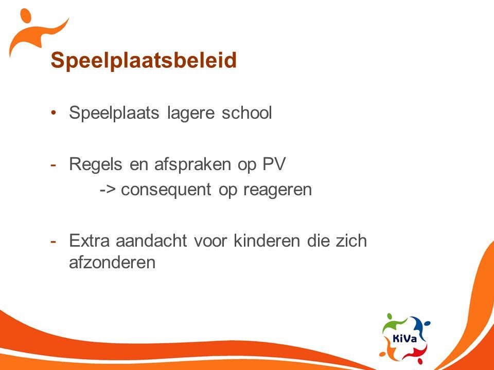 Speelplaatsbeleid Speelplaats lagere school Regels en afspraken op PV