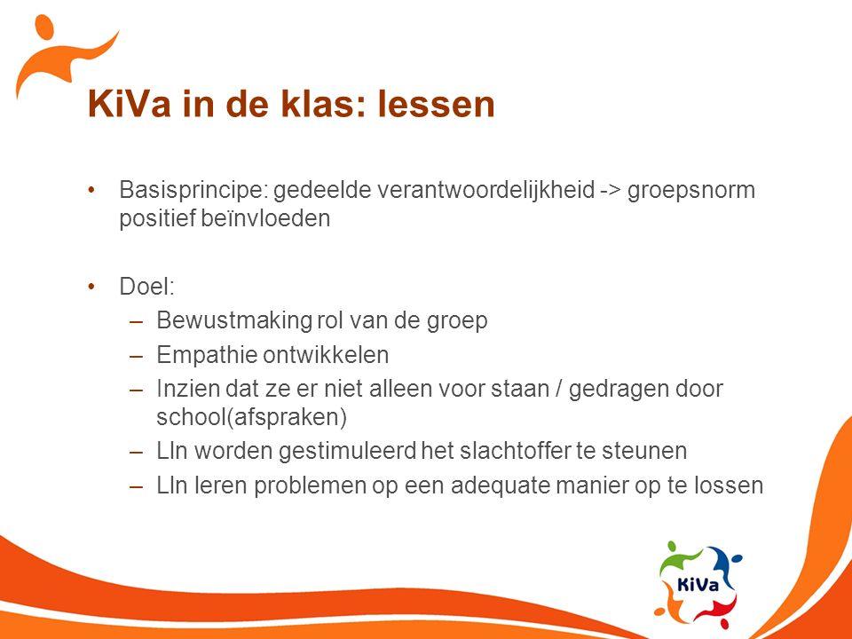 KiVa in de klas: lessen Basisprincipe: gedeelde verantwoordelijkheid -> groepsnorm positief beïnvloeden.