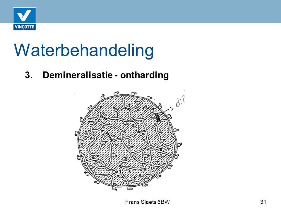 Waterbehandeling 3. Demineralisatie - ontharding Frans Slaets 6BW